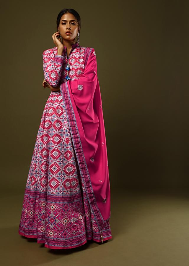 Grey And Red Anarkali Suit With Patola Print All Over And Magenta Patola Border Online - Kalki Fashion