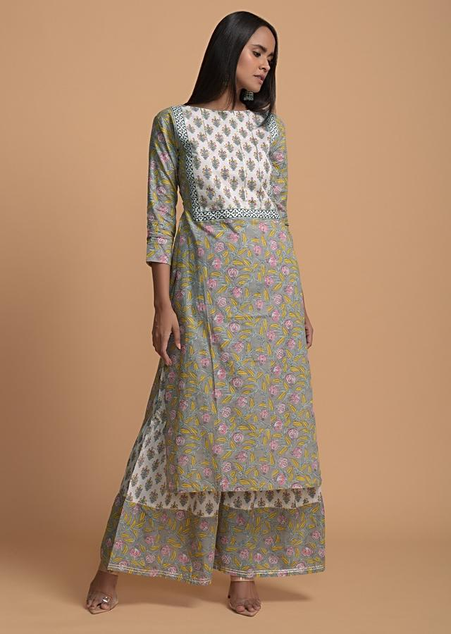 Grey And White Sharara Suit In Cotton With Floral Print And Gotta Lace Work Online - Kalki Fashion