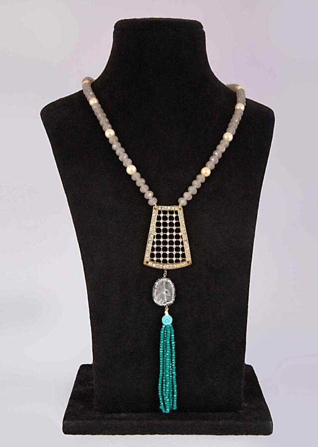 Grey beaded necklace with fancy cut out pendant adorn in stone only on Kalki