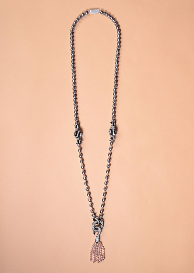 Grey Beads Long Necklace With Stone Studded Pendant And Peach Beads Tassel Online - Kalki Fashion