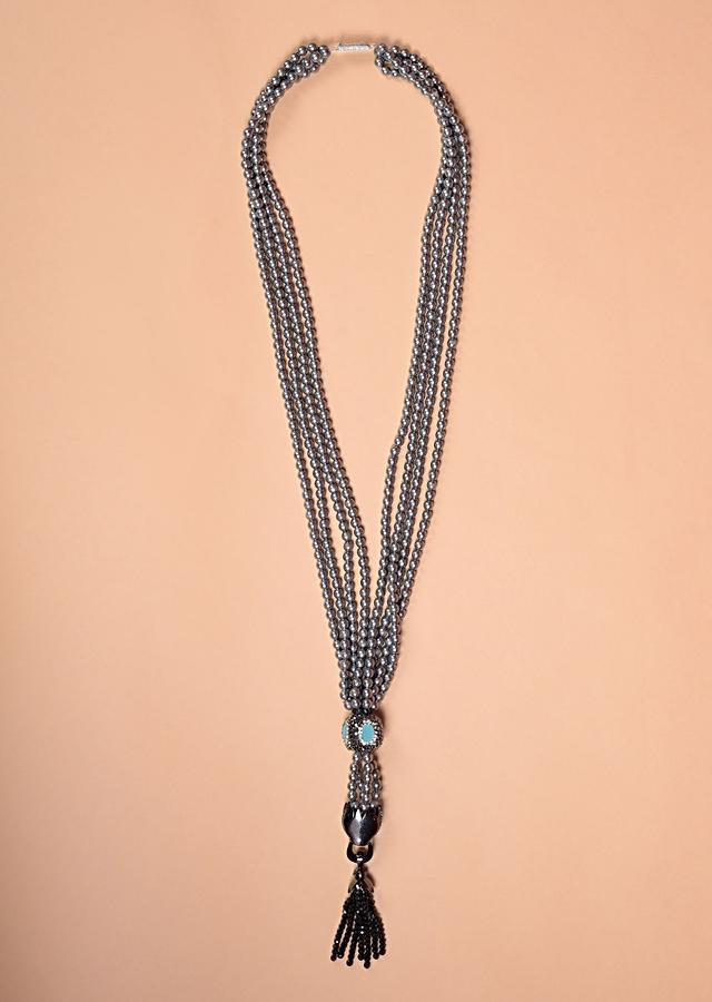 Grey Beads Multi Strand Necklace With Turq, Black And White Stone In Round And Animal Motif Online - Kalki Fashion