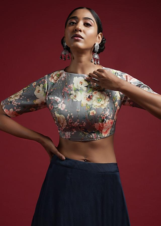 Grey Blouse In Cotton Silk With Floral Print And Half Sleeves Online - Kalki Fashion