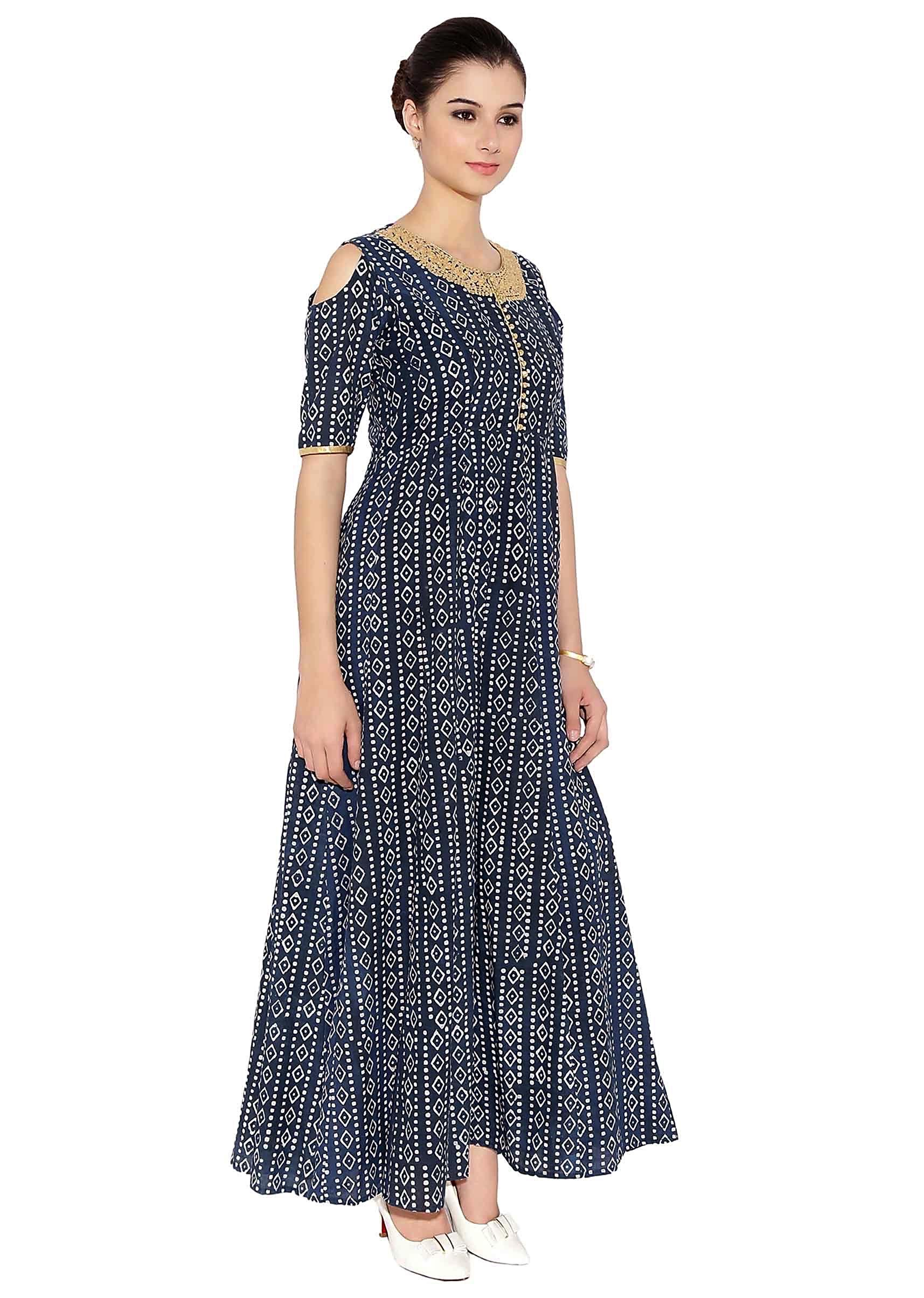 5758c5db7030 Grey Blue Cotton Kurti With Cut Out Shoulder Style Kurti With Thread  Embroider On Neck And