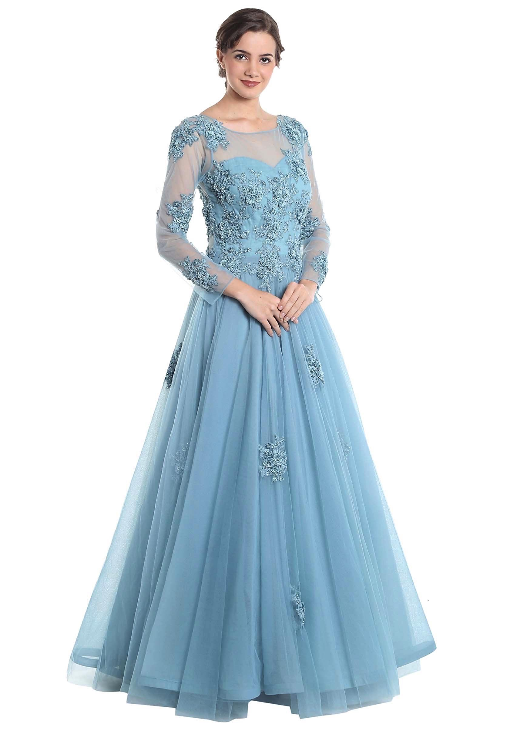 Grey blue net gown with 3D flowers and pearl embellishments b062251d1