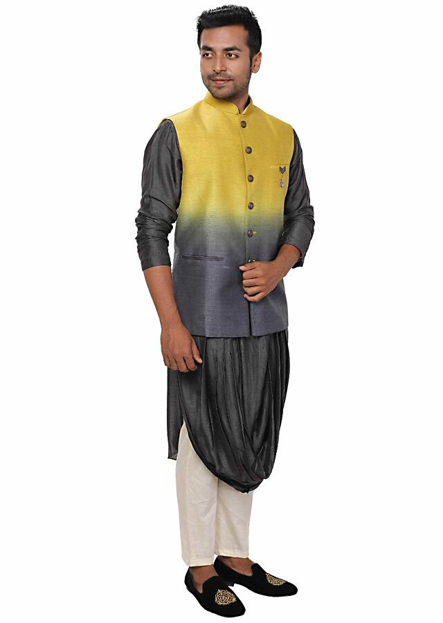 Grey Double Cowl Kurta & Churidar Set Paired With A Ombre Shaded Jacket Online - Kalki Fashion