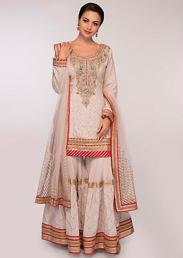 Grey Suit In Embroidered Georgette Paired With Flared Sharara And Net Dupatta Online - Kalki Fashion