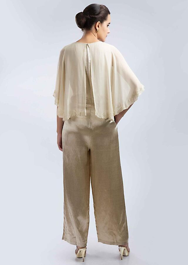 Grey Fabia Jumpsuit In Satin With A Prestitched Georgette Cape Online - Kalki Fashion