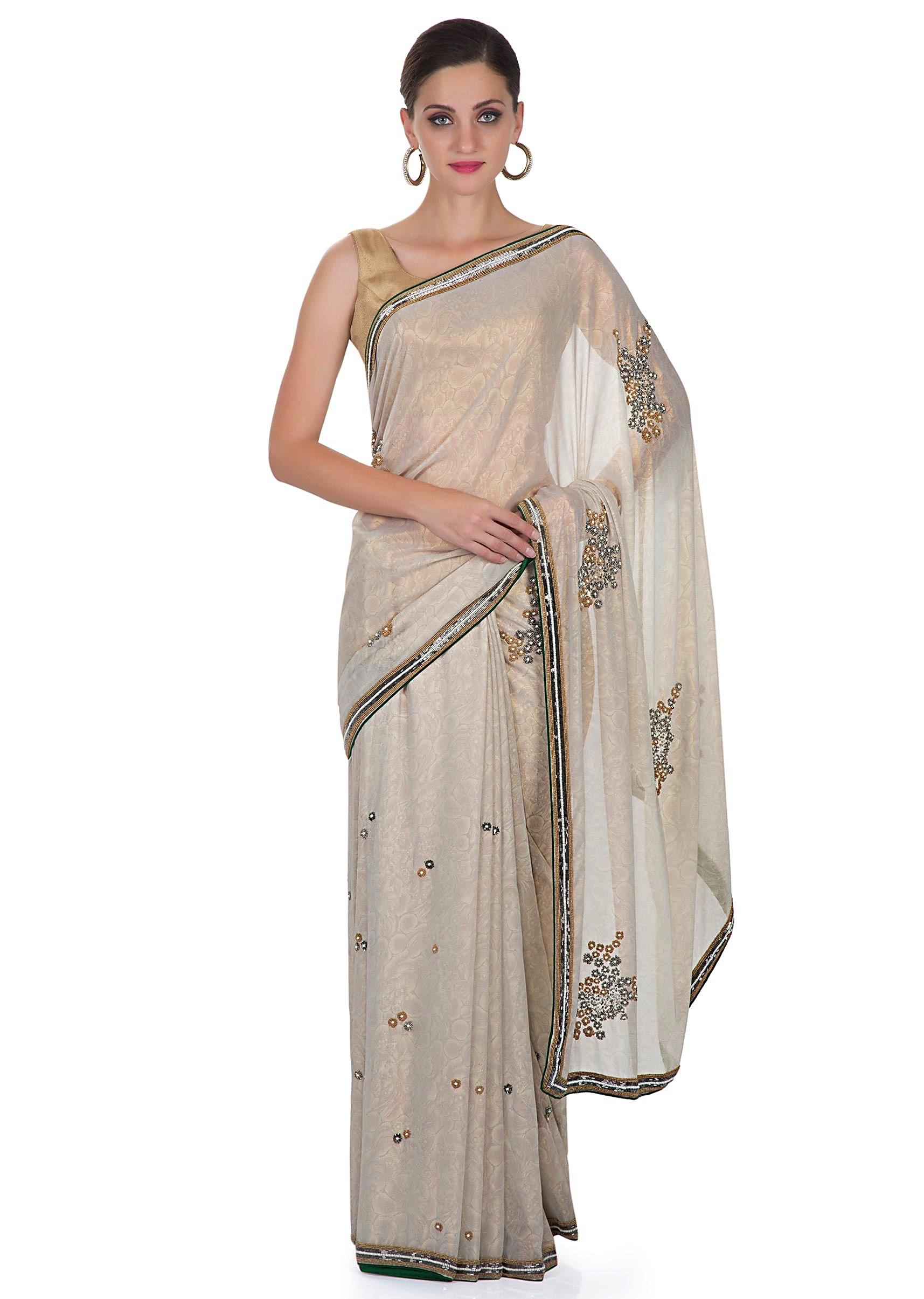 29b32a7fe4 Grey Foil Georgette Saree Featuring Sequins and Beads Only on Kalki More  Detail