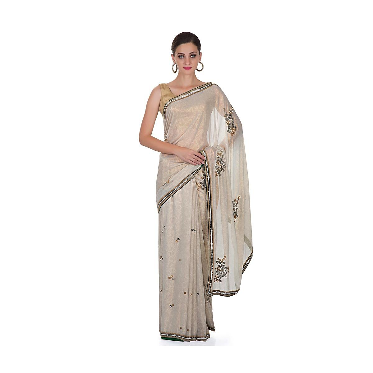 930e4931f0 Grey Foil Georgette Saree Featuring Sequins and Beads