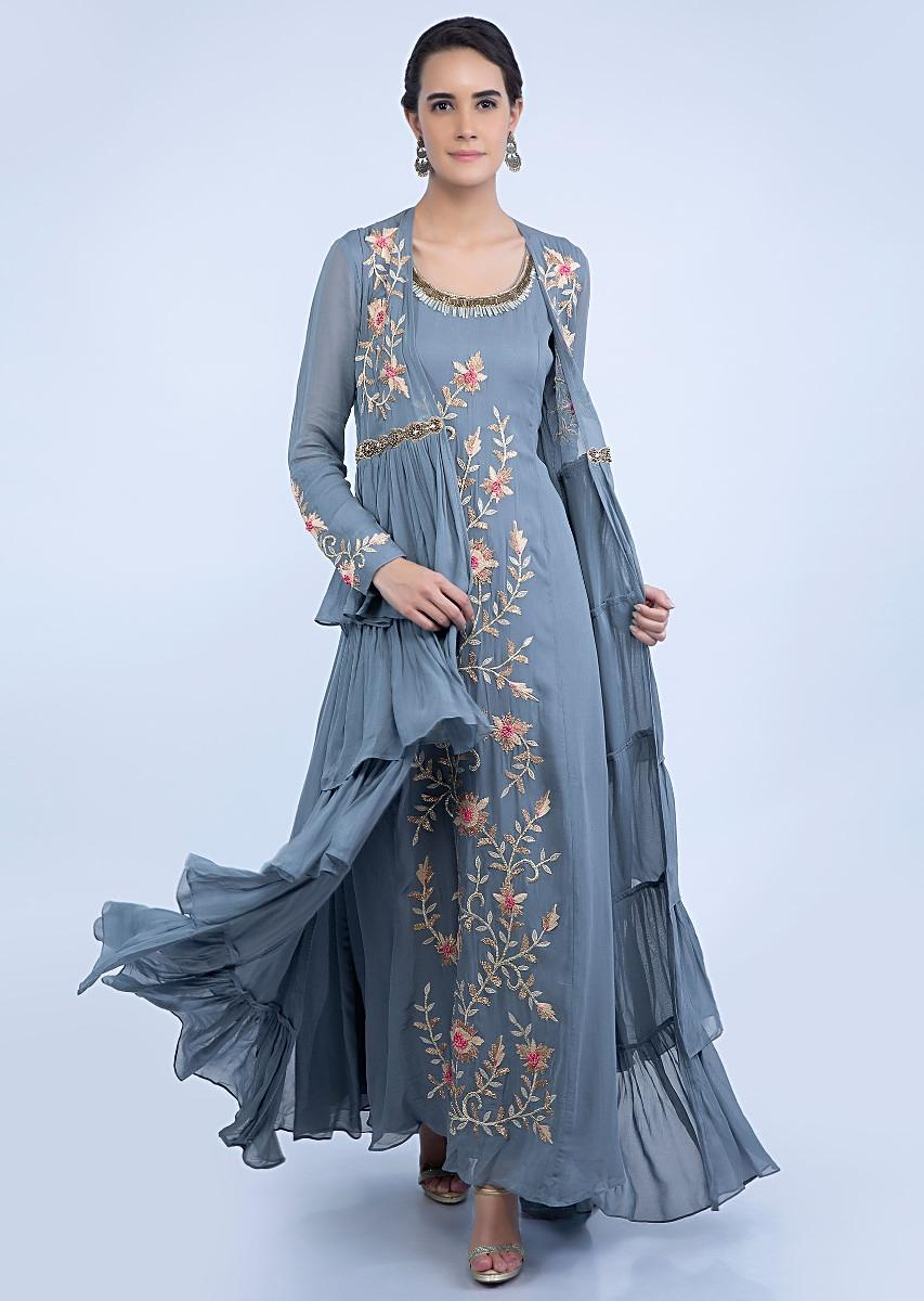 6d80c5c249 Grey front panel embroidered tunic dress with frilled layer long jacket only  on KalkiMore Detail
