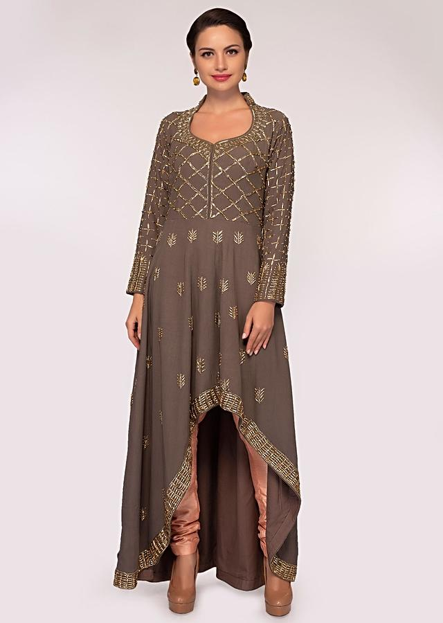 Grey High Low Suit In Embroidery And Butti With Peach Pant And Dupatta Online - Kalki Fashion