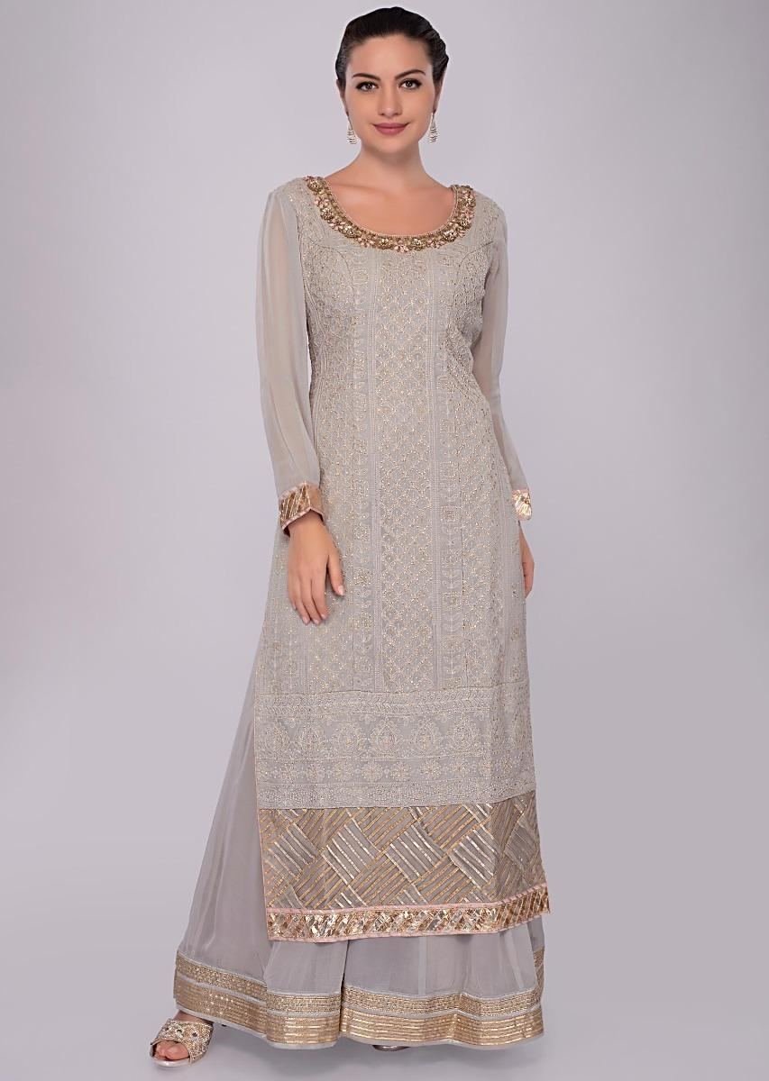 8aaf28b71 Grey georgette lucknowi palazzo suit set with net dupatta only on Kalki