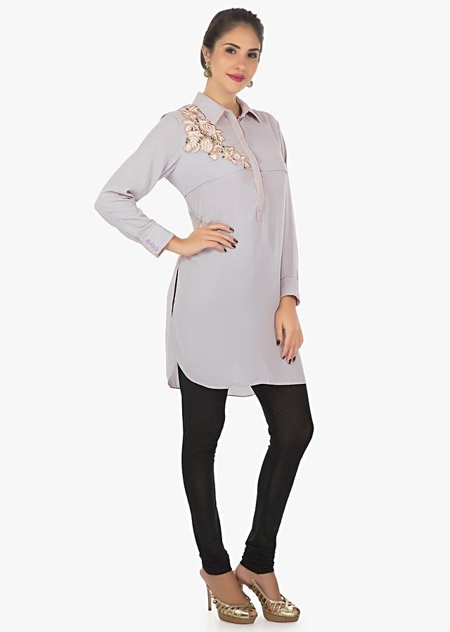 Grey Kurti In Georgette Embellished With Resham Patch Work Online - Kalki Fashion