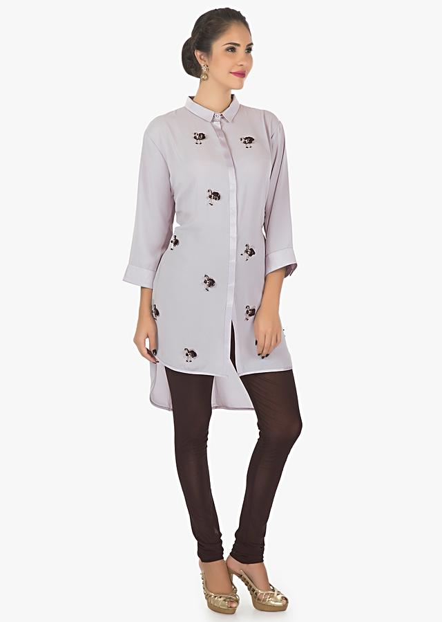 Grey Kurti In Georgette With Front Short And Back Long Enhanced With Tassel Motifs Online - Kalki Fashion