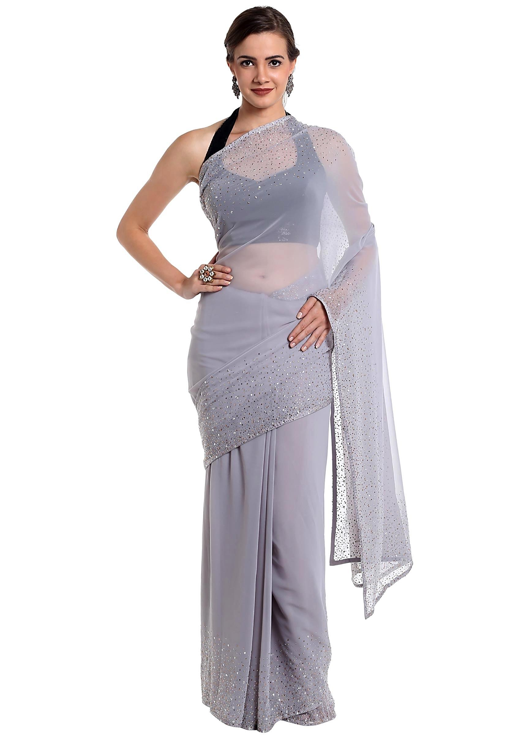 adcf45fa6b9a2 Grey georgette saree featuring kundan work only on KalkiMore Detail