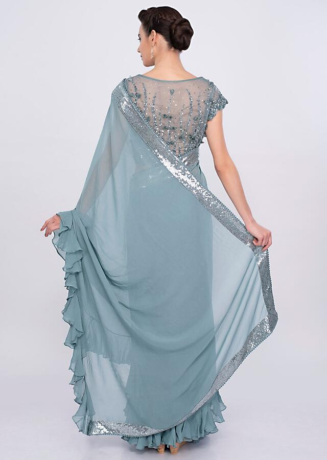Grey Saree In Georgette With Frill Pallu And Hem Online - Kalki Fashion