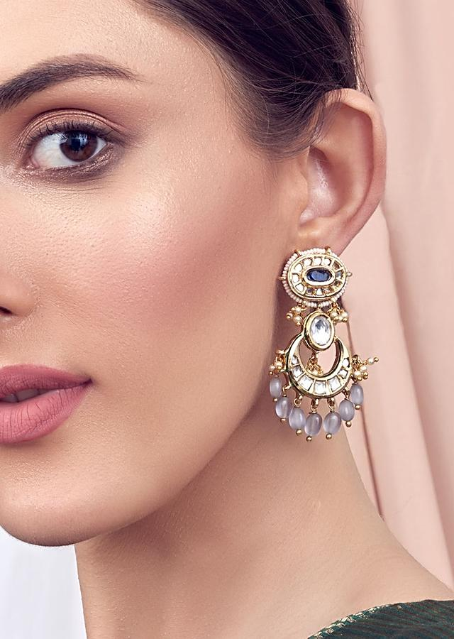 Grey Kundan Earrings With Blue Hydro Saphire Encrusted With Shell Pearls And Quartz Joules By Radhika
