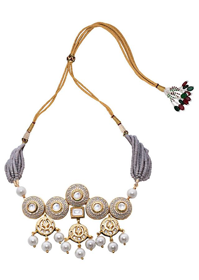 Grey And Gold Tone Necklace Set With Meenkari, Kundan And Danglng Pearls Joules By Radhika