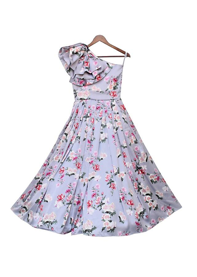 Grey Gown In Floral Printed Satin With Ruffled One Shoulder Neckline By Fayon Kids