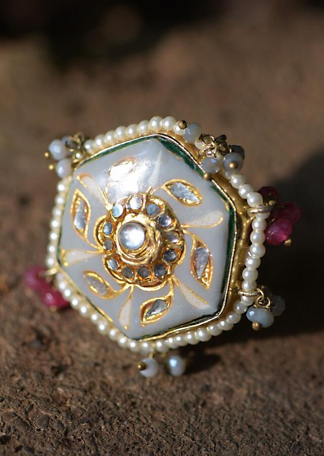 Grey Hexagon Ring With Carved Floral Pattern, Kundan, Pearls And Colorful Beads Kohar By Kanika