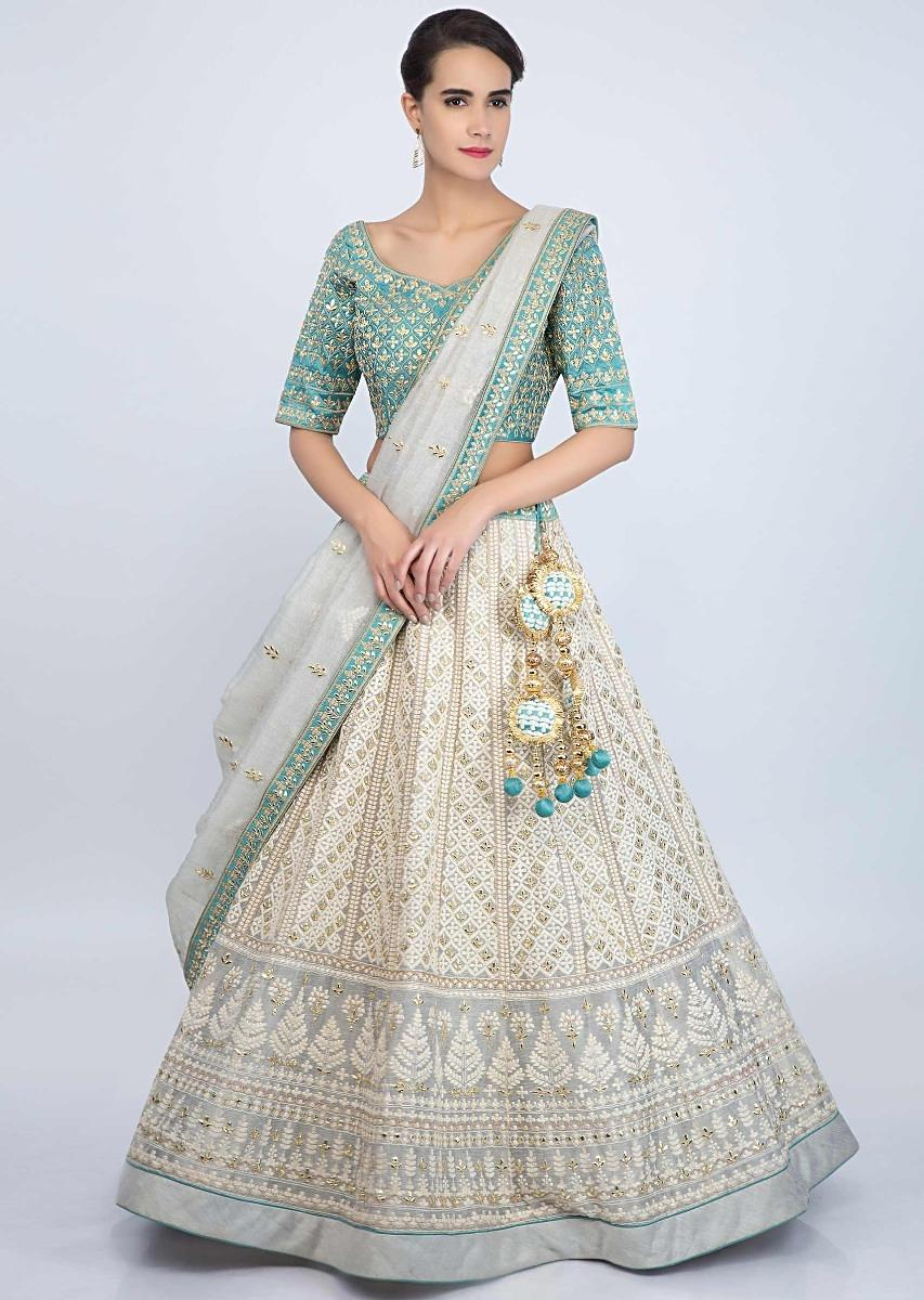 35e613c12 Grey jute cotton lehenga with blue silk gotta patch embroidered blouse only  on Kalki