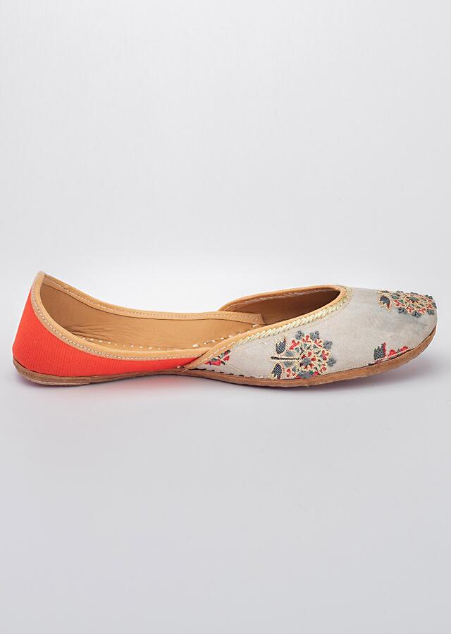 Grey Juttis In Cotton Satin With Floral Print Adorned With French Knots And Zari Work  By Vareli Bafna
