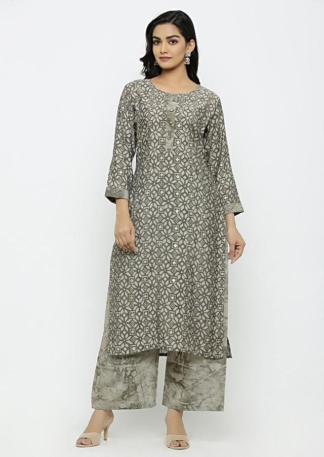 Grey Kurta Set In Muslin Cotton With Jaal And Marble Print Online - Kalki Fashion