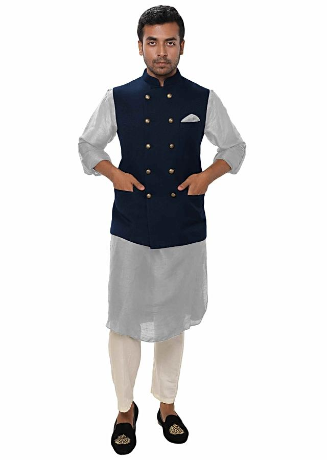 Grey Kurta Set Paired With A Dark Blue Double Breasted Jacket Online - Kalki Fashion