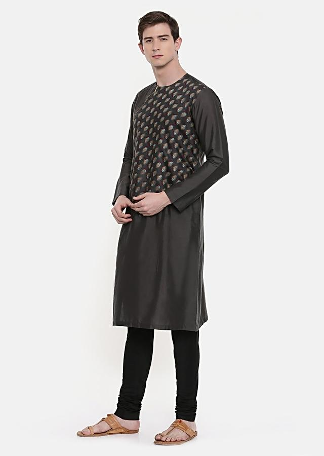 Grey Kurta Set With Printed Buttis And Angled Zipper Detail By Mayank Modi