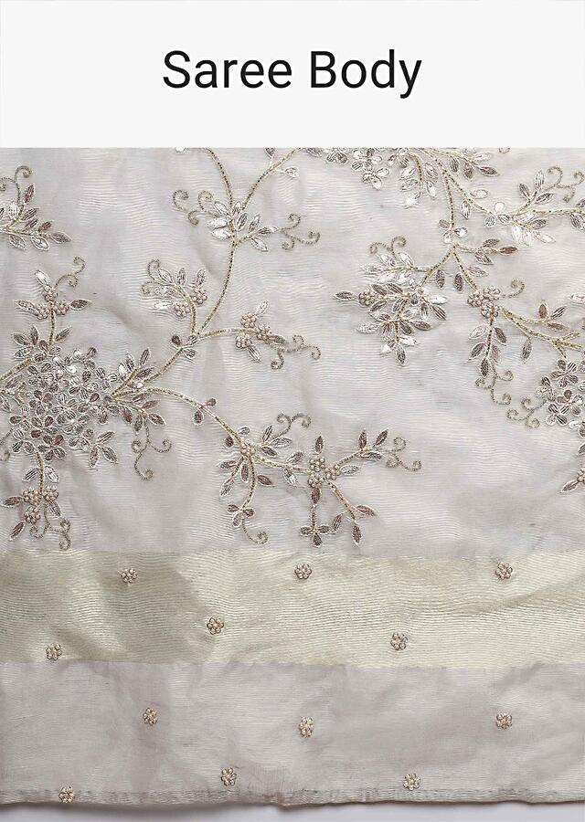 Grey Linen Saree With Floral Jaal Embroidery Online - Kalki Fashion