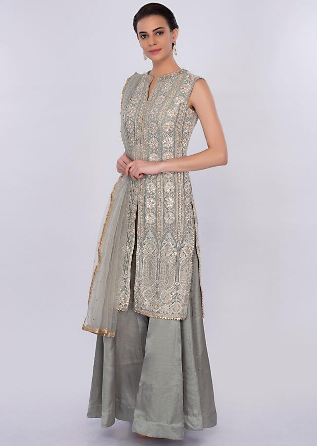 Grey Palazzo Suit Set With Lucknowi Embroidery Online - Kalki Fashion