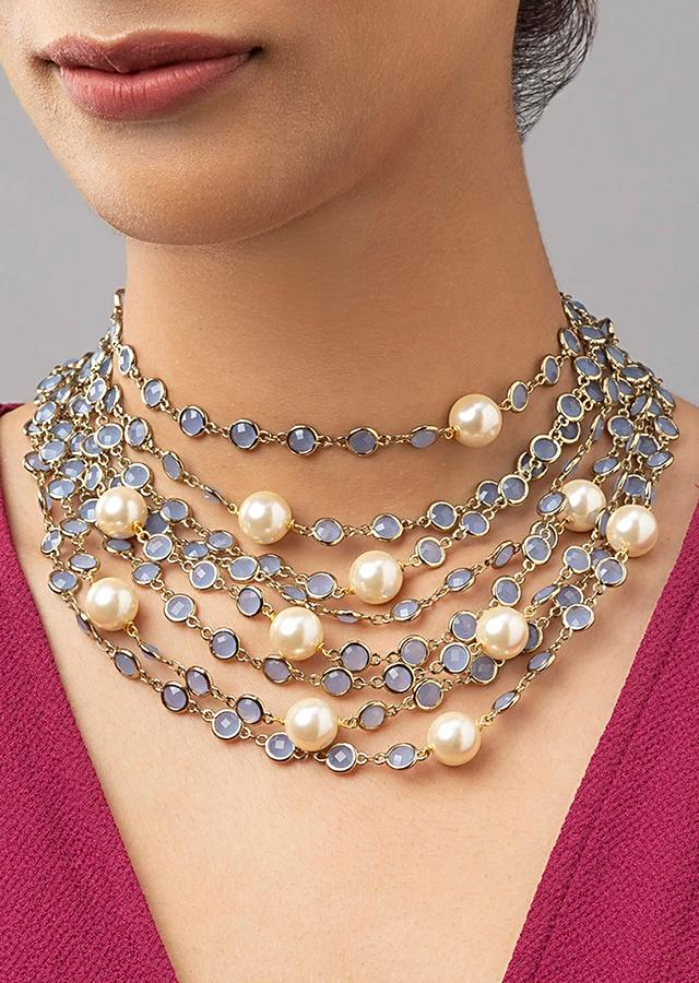 Grey Multi-layered Necklace Made With Agate Beads, Swarovski And Shell Pearls Online - Joules By Radhika