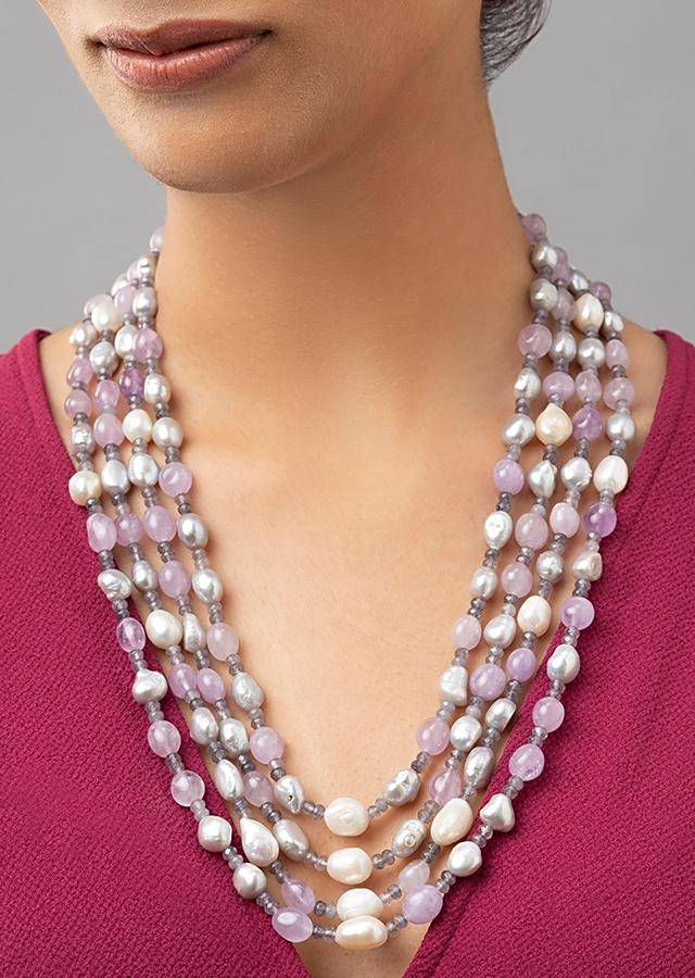 Grey Multi-layered Necklace With Fresh Water Pearls, Shell Pearls And Jae Beads Online - Joules By Radhika