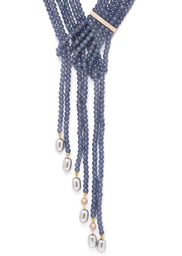 Grey Necklace In A Layered Wrap Around Design With Agate Beads, Swarovski And Pearls Online - Joules By Radhika