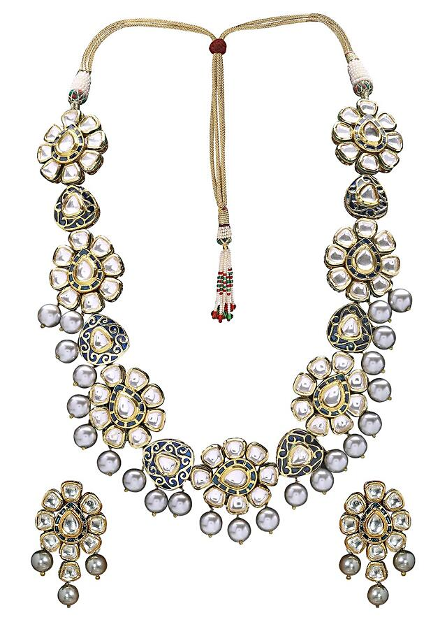 Grey Necklace Set In Floral Design With Polki, Blue Meenakari And Grey Shell Pearls Online - Joules By Radhika