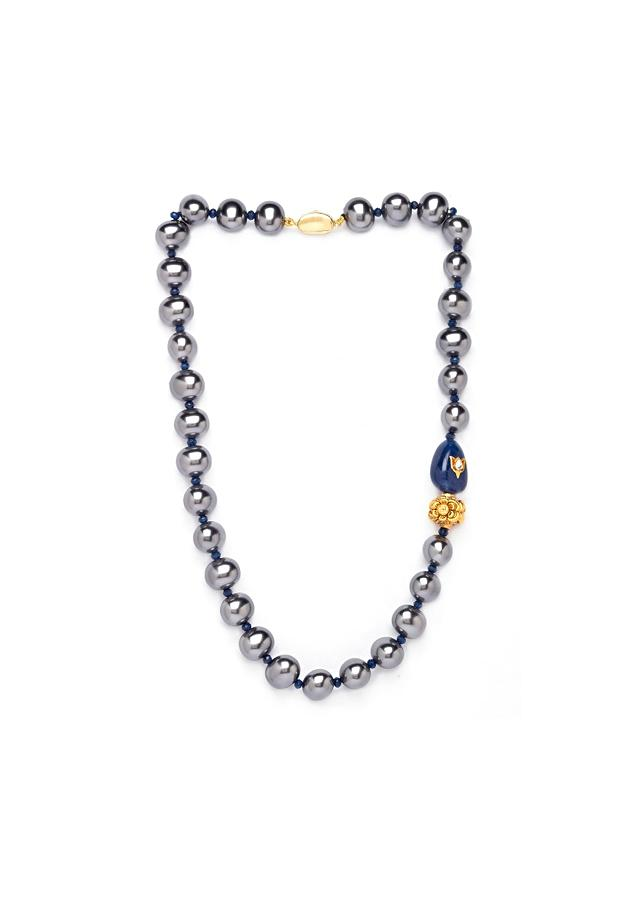 Grey Necklace With Shell Pearls, Blue Onyx Tumbles And Agate Beads Online - Joules By Radhika