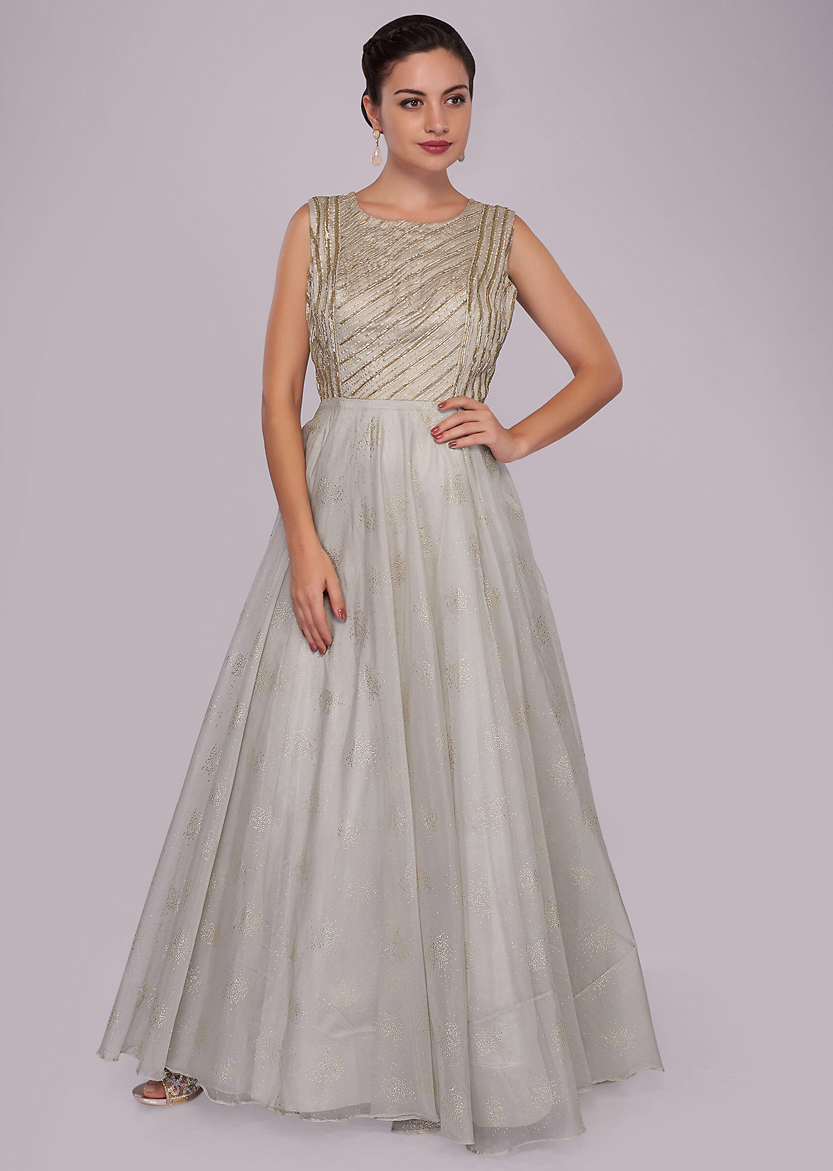 9f0d3112c3 Grey organza anarkali gown with embroidered bodice only on Kalki