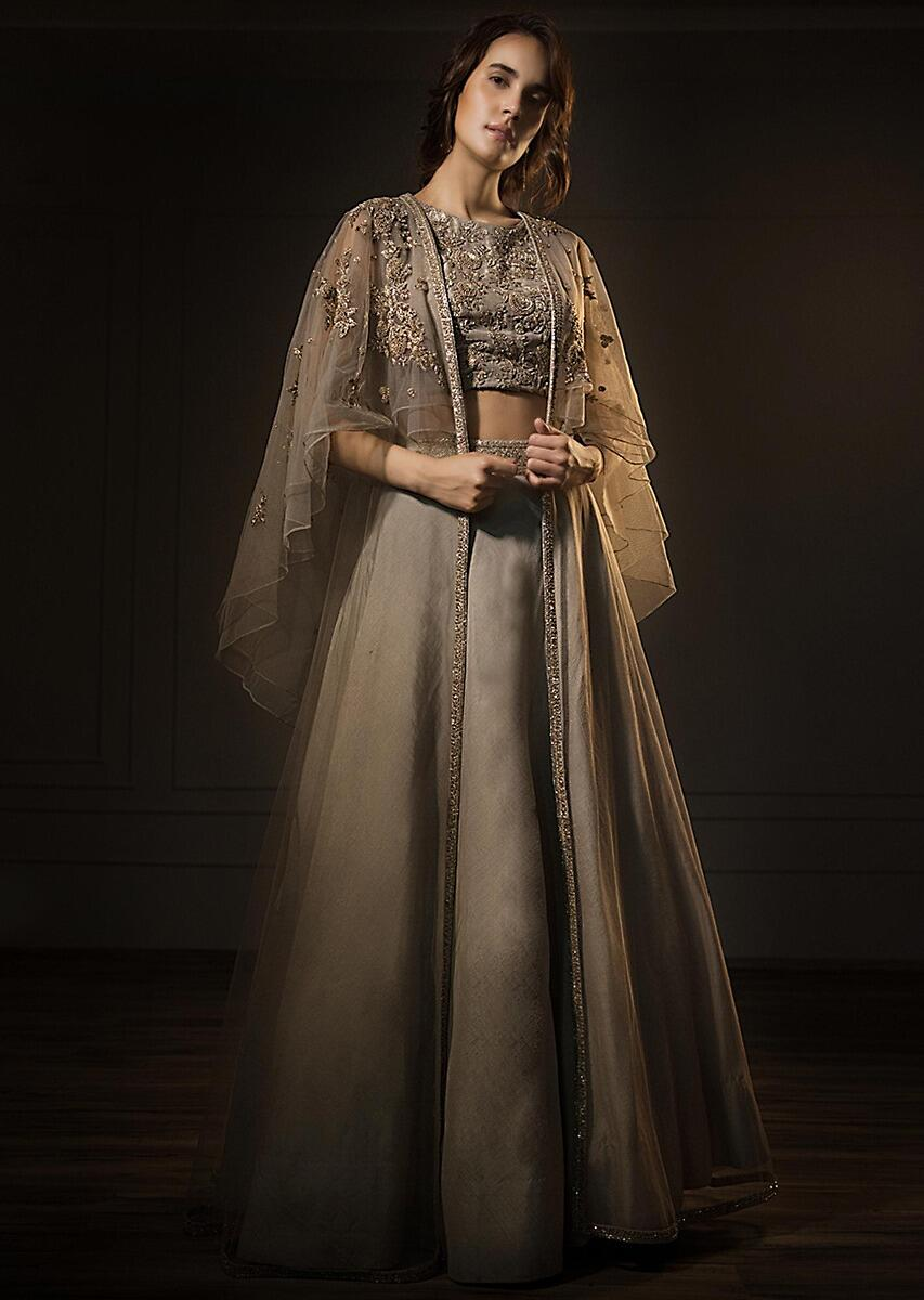 a32eadf565c74 Grey organza lehenga and embroidered crop top with fancy cape jacket only  on Kalki