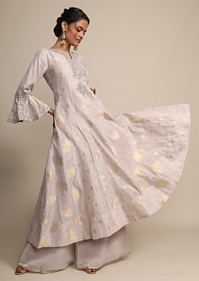Grey Palazzo Suit In Cotton Silk With Mirror Work And Ruffle Sleeves Online - Kalki Fashion