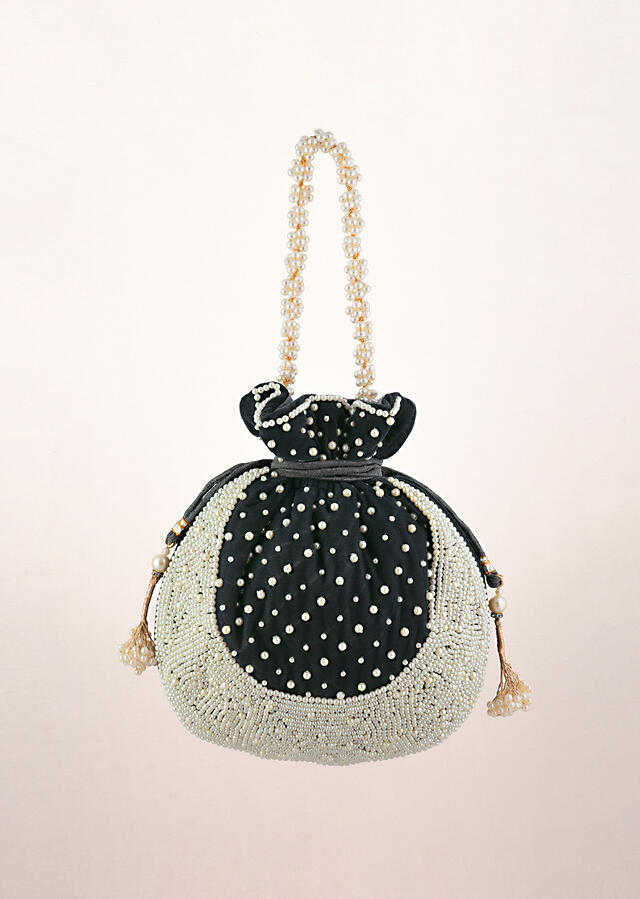 Grey Potli Bag In Velvet With Moti Work In Crescent Design Along The Edge And Scattered In The Centre By Shubham