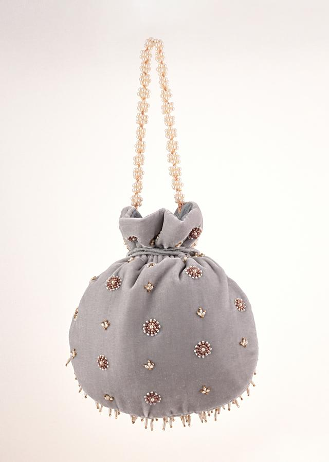 Grey Potli In Velvet Heavily Embroidered With Beads And Moti Work In Scalloped And Tassel Design By Shubham