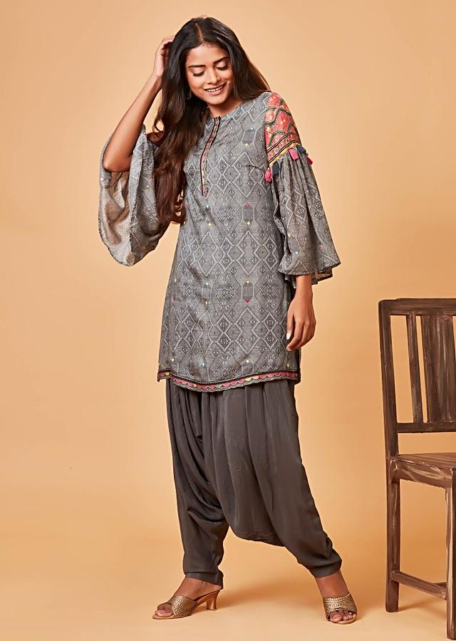 Grey Salwar Suit With Tribal Print And Bell Sleeves Online - Kalki Fashion