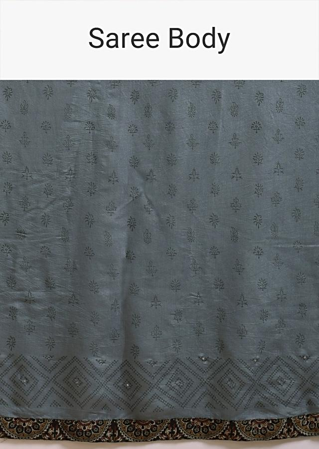 Grey Saree In Cotton With Multi Color Block Printed Applique On The Pallu And Self Printed Buttis Online - Kalki Fashion