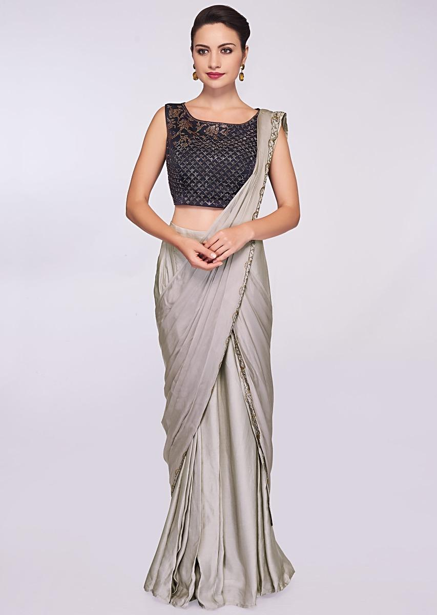 34bb6dea66 Grey satin pre stitched saree with ready pleats and draped pallo only on  Kalki