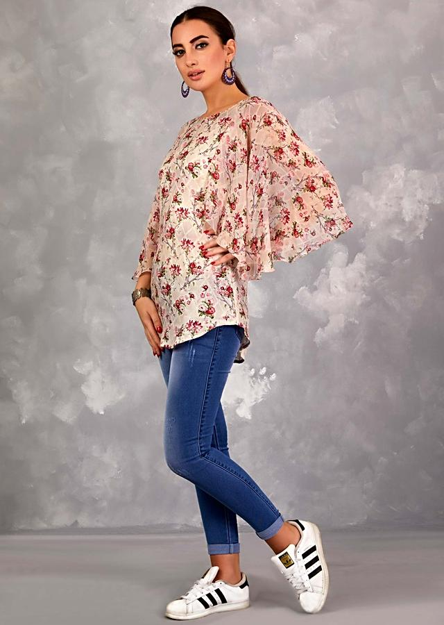 Grey Shaded Tunic With Floral And Checks Print And Flared Bell Sleeves