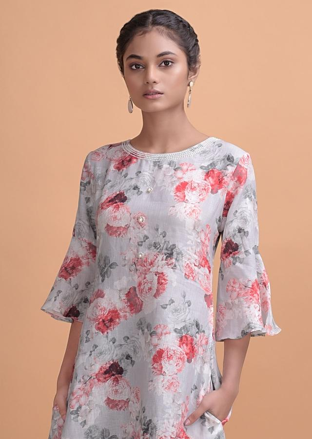 Grey Shaded Tunic With Floral Print Adorned With Pearls Online - Kalki Fashion