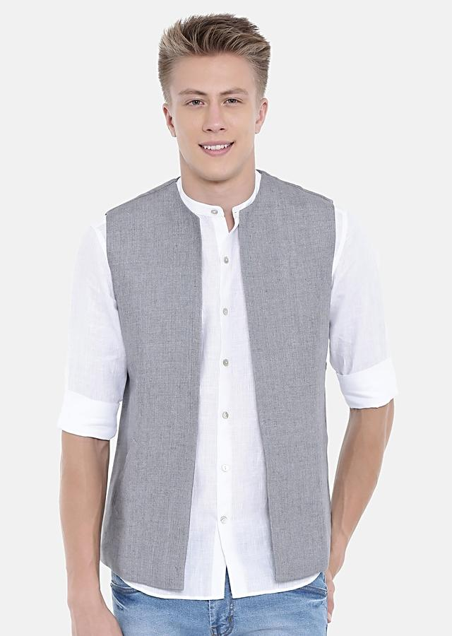 Grey Short Jacket In Linen With Open Front By Mayank Modi