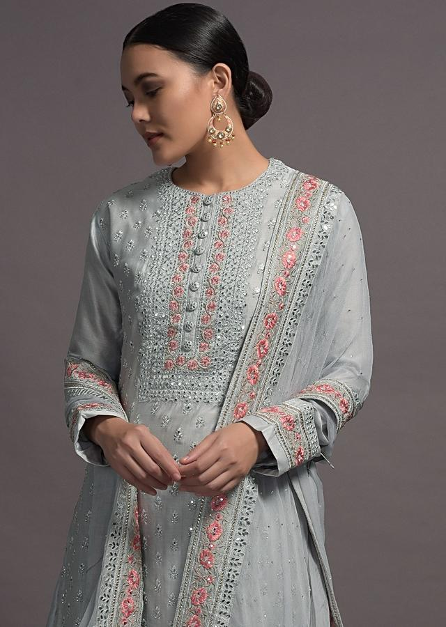 Grey Silk Suit Set With Self Resham Floral Embroidery And Butti Online Kalki Fashion