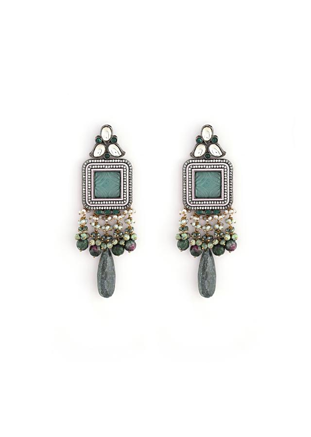 Grey Toned Earrings With Carved Green Stones In Square Shape Along With Green Semi Precious Drops By Kohar