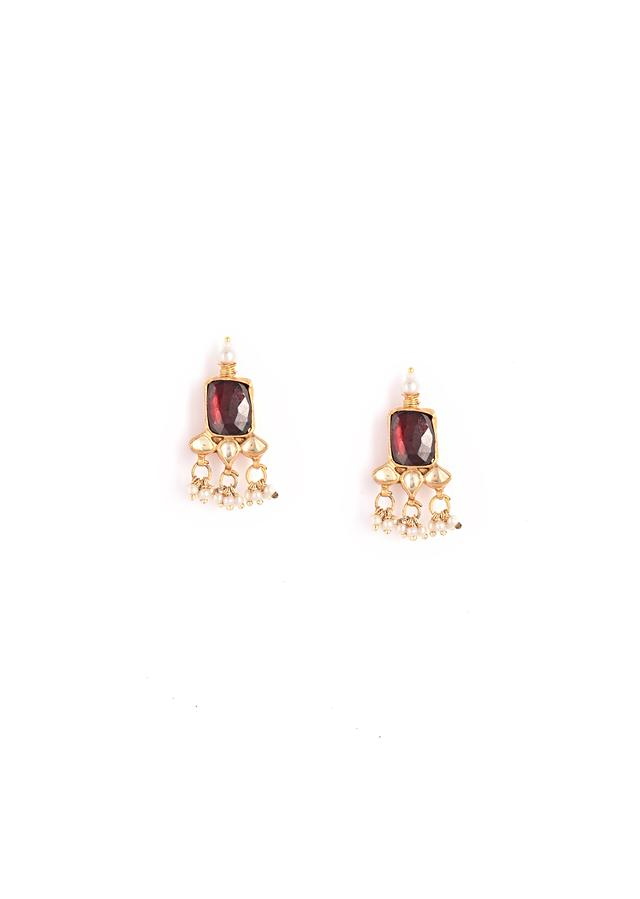 Burgundy Precious Stone Necklace And Earrings Set In Geometric Motif With Kundan And Dangling Moti And Bead Tassels By Kohar